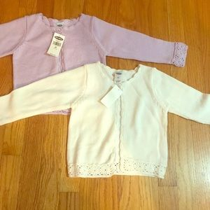 TWO Old Navy cotton pointelle cardigans, 3T, NWT